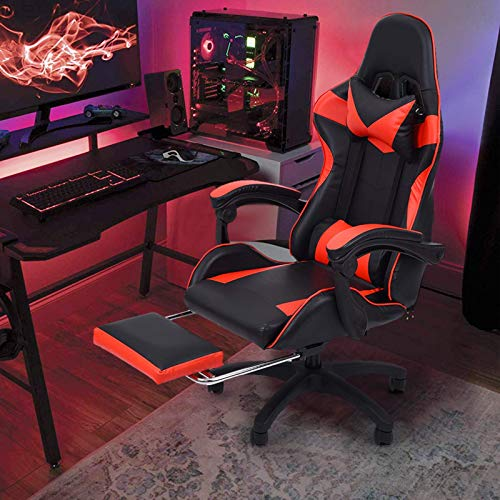 Gtracing Chair Gaming, Silla para Juegos con reposapiés Respaldo Ajustable Silla de Oficina de Cuero reclinable