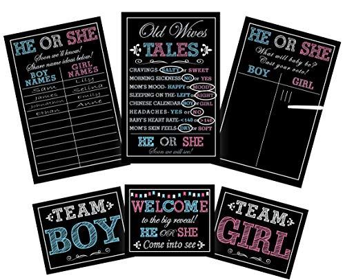 Longwu [Set da 7 pezzi] Baby Gender Reveal Party Kit con decorazioni Giochi Puntelli Fotografici Centrotavola Ragazza | Include 3 poster di gioco , 1 pennarello a gesso (Erasabile), 3 cartelli
