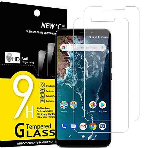 NEW'C 2 Pezzi, Vetro Temperato Compatibile con Xiaomi Mi A2, Xiaomi Mi 6X, Pellicola Prottetiva Anti Graffio, Anti-Impronte, Durezza 9H, 0,33mm Ultra Trasparente, Ultra Resistente