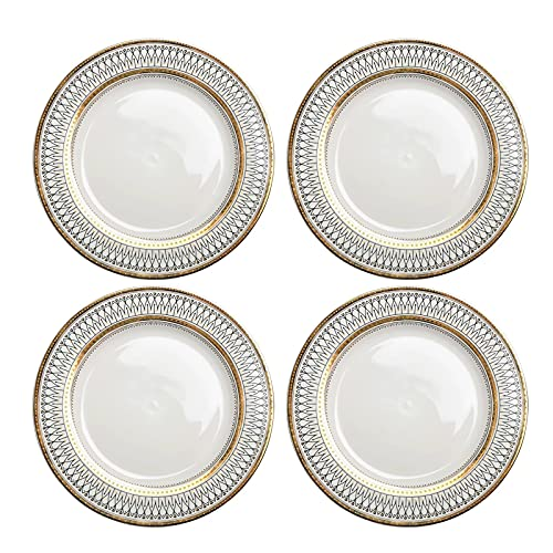 """Plato Llano Blanco de Porcelana Elegante Redondo Platos para Servir, Moderno Vajilla para Bistec, Pasta, Ensalada, Fiesta - Total 4 Piezas,10"""""""