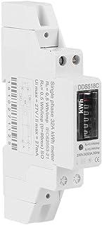Contador de corriente monofásico, LCD, 220 V, KWH, 5-32 A, carril DIN
