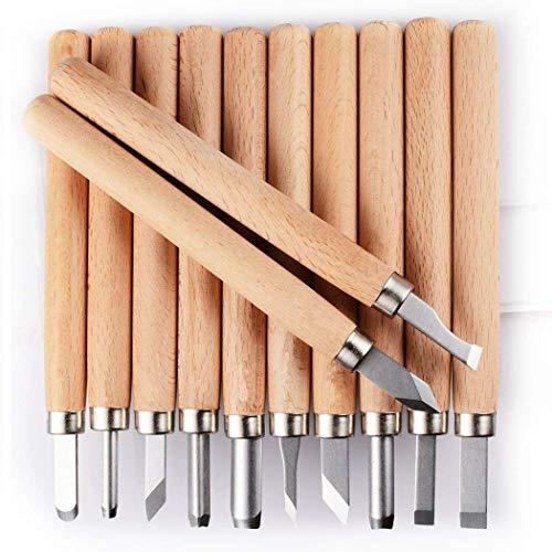 Kit de ferramentas de escultura de madeira PRUGNA, conjunto de gravador de aço carbono HRC62 para crianças e iniciantes, 12 peças de faca de gravação com estojo de armazenamento
