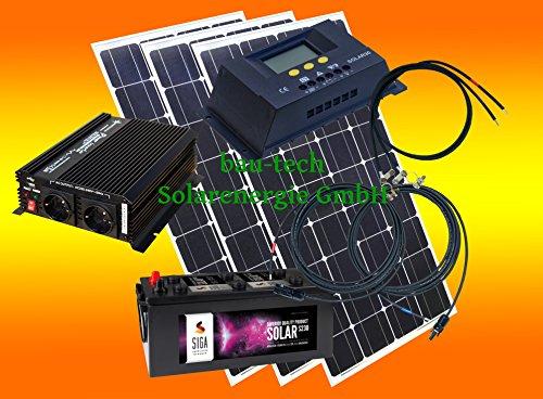 300 Watt Insel Solaranlage für Garten uvm. Komplett SET inklusive Montagematerial für Flachdach von bau-tech Solarenergie