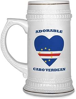 Custom Beer Mug Adorable Cabo Verdean Heart Ceramic Drinking Glasses Beer Gifts White 18 OZ Design Only
