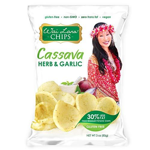 Cassava Chips Herb & Garlic (12 Pack of 3 Ounce Individual Bags) - Gluten Free, Non-GMO, Vegan, Zero Trans Fats – Wai Lana