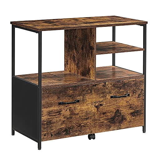 VASAGLE Filing Cabinet for Home Office, File Cabinet with Open Shelves and Drawer, for A4 and Letter Sized Documents, Printer Stand with Casters, Industrial, Rustic Brown and Black UOFC043B01
