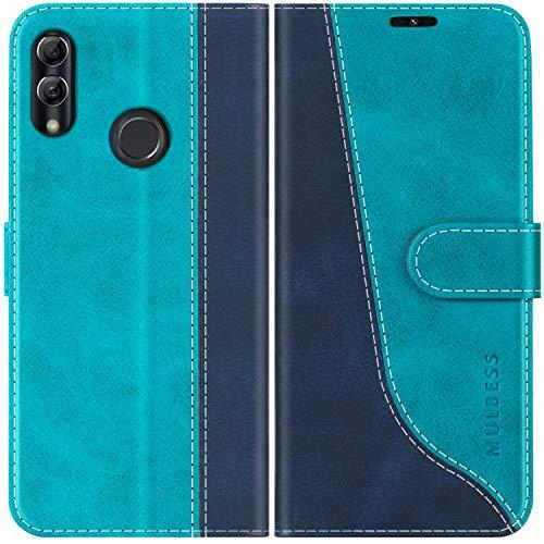 Mulbess Custodia per Huawei P Smart 2019, Custodia Honor 10 Lite, Cover Huawei P Smart 2019 Libro, Custodia Huawei P Smart 2019 Pelle, Flip Cover per Huawei P Smart 2019 Portafoglio, Blu Mint