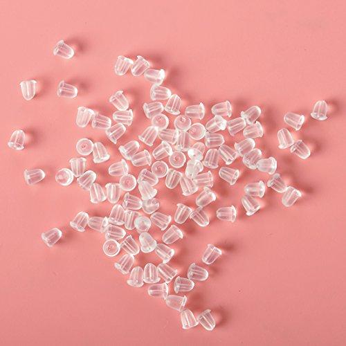 Ciaoed Ohrringverschlüsse aus transparentem weichem Gummi, kleine, klare Ohrstecker, allergiefrei, transparent, Schmetterlings-Ohrring-Verschlüsse, für Damen, zum Basteln