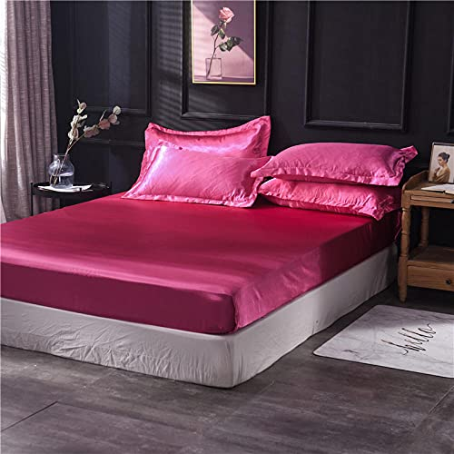 XGguo Protector de colchón - óptimo antiácarosSábana de Cama Pure Color Full Covered Bed Cover-Rose Red_150x200cm