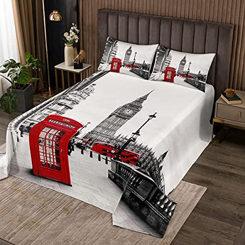 London Stadt 3D Drucken Bettüberwurf Rot Handyzelle Steppdecke Microfaser Grau Modern City Landschaft Tagesdecke mit 1 Kissenbezug 2 teilig Kinder Mädchen Wohndecke 170x210cm