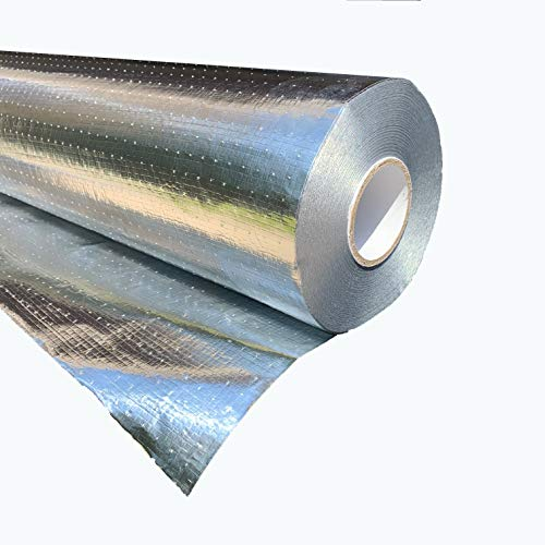"""Original AtticFoil Radiant Barrier 500 sq ft roll / 48"""" x 125ft. Pure Aluminum 97% Reflectivity - NOT Metalized Film. Perforated for Breathability - TearProof/Strongest Radiant Barrier Available …"""