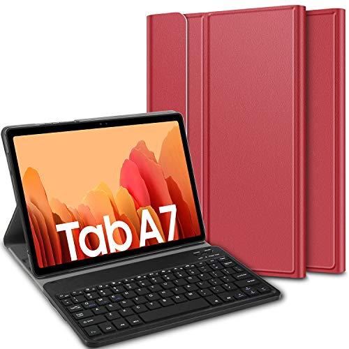 ELTD Tastatur Hülle für Samsung Galaxy Tab A7 (Deutsches QWERTZ),Ständer PU Schutzhülle Hülle mit magnetisch Abnehmbarer Kabellose Tastatur für Samsung Galaxy Tab A7 2020 10.4 Zoll (Rot)