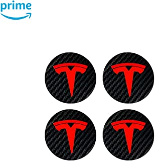 CoolKo Center Cap Wheel Rim Logo T Emblem Decals Stickers 4 Pieces Compatible with Model X and S [Black/Red Combination]