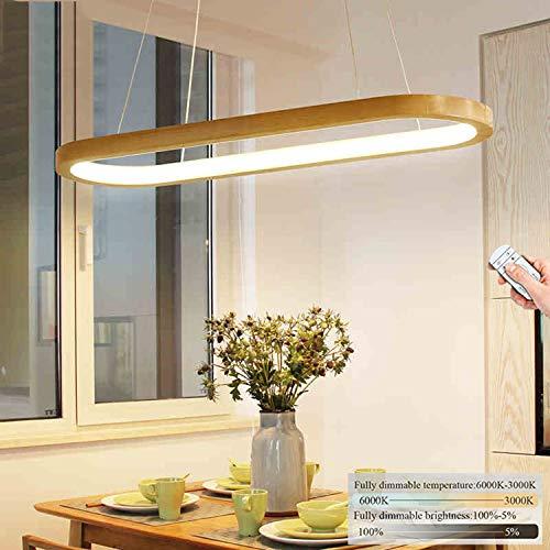 Hängelampe LED Dimmbar Holz Esszimmerlampe, Ring Hängeleuchte L90cm Esstisch Holzlampe, Modern Design Esstischlampe, höhenverstellbar Wohnzimmer Flur Küche Arbeitszimmer Schlafzimmer 41W Pendelleuchte