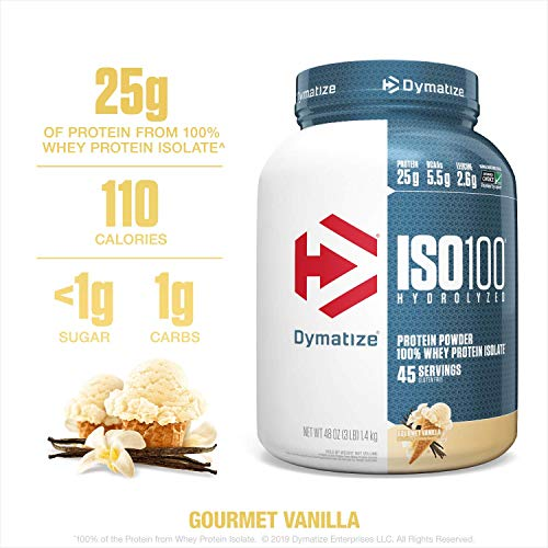 Dymatize ISO100 Hydrolyzed Protein Powder, 100% Whey Isolate Protein, 25g of Protein, 5.5g BCAAs, Gluten Free, Fast Absorbing, Easy Digesting, Gourmet Vanilla, 3 Pound