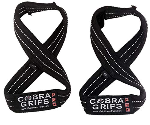"Deadlift Straps Best Straps ON The Market Figure 8 Lifting Straps The #1 Choice for Power Lifters weightlifters Workout Enthusiasts (70 cm Up to 8.0"" Wrist Circumference, Black with White Strips)"