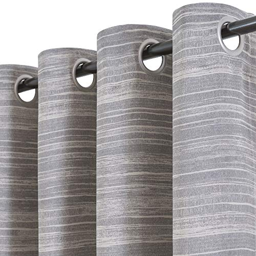 Vangao Grey Curtains Room Darkening 84 inches Long for Bedroom Printed Drapes Thermal Insulated Window Treatment Set Grommet Top 2 Panels Gray on Beige
