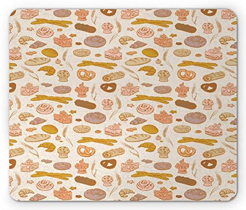 KKs-Shop Mauspad, Pretzel Baguette Croissant Rolle Donut Cupcake Muffin Rhythmische Artikel für Backofen rechteckig aus Gummi rutschfest