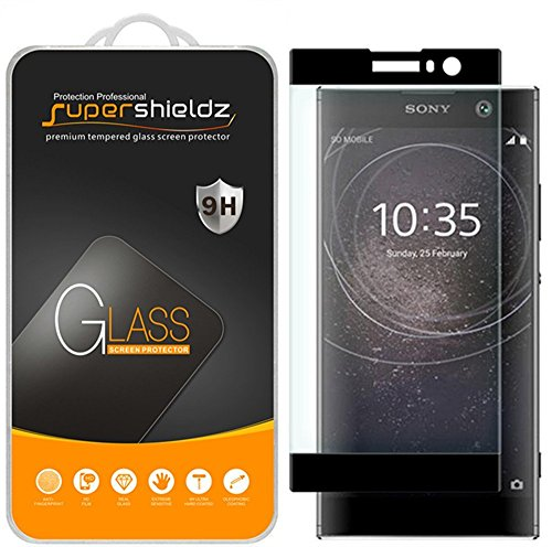 protector for xperia Supershieldz Designed for Sony (Xperia XA2) Tempered Glass Screen Protector, (Full Cover) (3D Curved Glass) 0.33mm, Anti Scratch, Bubble Free (Black)