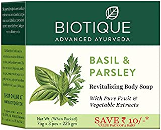 Biotique Bio Basil and Parsley Body Revitalizing Body Soap, Pack of 3, 225 g (3 x 75 g)