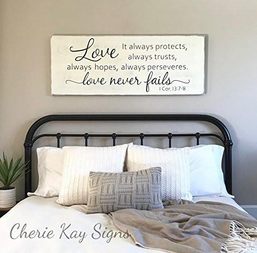 Amazon Com Ruskin352 Wood Sign Plaque Master Bedroom Wall Decor Love Never Fails 1 Corinthians 13 Rustic Farmhouse 24 X 9 2 Everything Else