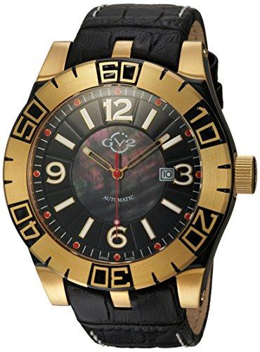 GV2 by Gevril La Luna Herren-Armbanduhr, Automatik, schwarzes Lederarmband (Modell: 8001)