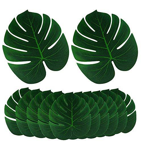 DELSEN - 12 hojas de palma falsificadas de tamaño grande, hojas de palmera falsificadas para Hawaiian Luau Jungle Beach teme Party decoración (33 x 29 cm)