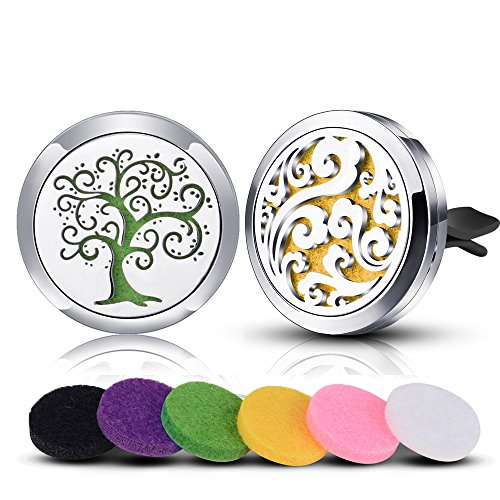 INFUSEU 2 Pcs Car Air Freshener Vent Clip Essential Oil Car Diffuser Aromatherapy Locket Stainless Steel Tree of Life Cloud, 12 Refill Felt Pads