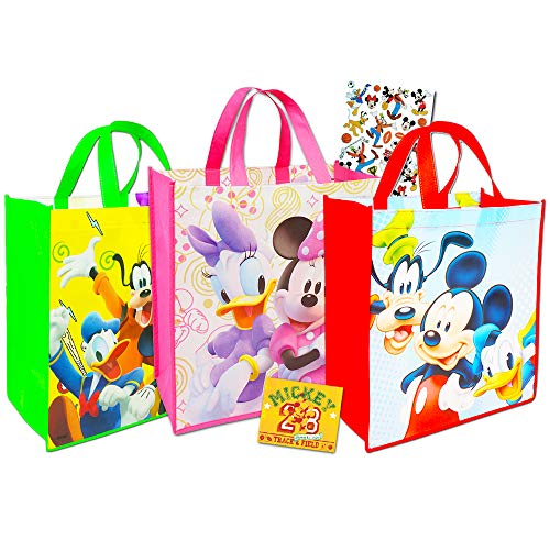 Mickey Mouse Disney Tote Bags Value Pack -- 3 Reusable Tote Party Bags (Featuring Mickey and Minnie Mouse), Bonus Sticker
