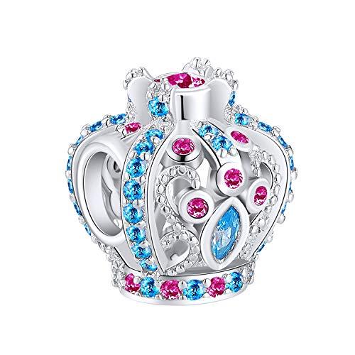 Ningan corona Abalorios Charms Colgantes de encanto de Cuentas Plata de Ley 925 con Compatible con Pulsera Pandora & Europeo