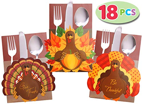 JOYIN 18 Count Thanksgiving Cutlery Holder Set for Thanksgiving Turkey Utensil Décor, Autumn Fall Harvest Party Favor Supply Table Decoration, Thank You Cards.