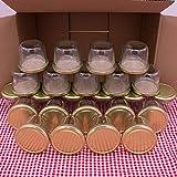 flaschenbauer.de 24er Set Sturzgläser 230 ml inkl. goldene Twist Off Deckel TO82 zum Einmachen von Suppen, Babynahrung, Dips oder zur Aufbewahrung von Tee und Kräuter