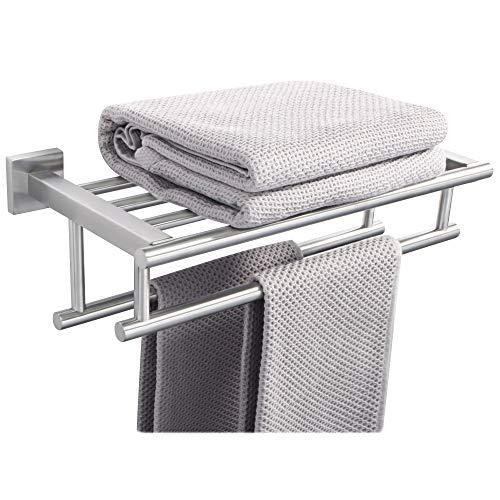 SAYAYO Toallero de pared doble con estante de baño de 2 barras, 40 cm, acabado de acero inoxidable cepillado SUS 304, EGZ8040-LS-FR