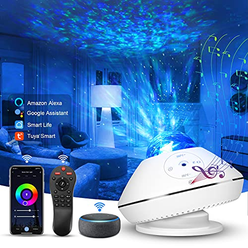 2021 LED Alexa DIY Proiettore Stelle, Domotica Intelligente Controllo Vocale, Telecomando, Regolazione Colore RGB, 43 Modalità Proiettore Galassia, WIFI Galaxy Proiettore