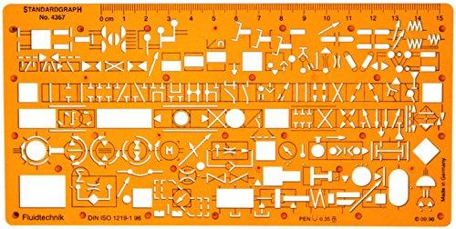 Hydraulik Pneumatik Fluidtechnik Flusssteuerung Schema Symbols Installation Schablone Zeichenschablone - Technisches Zeichnen