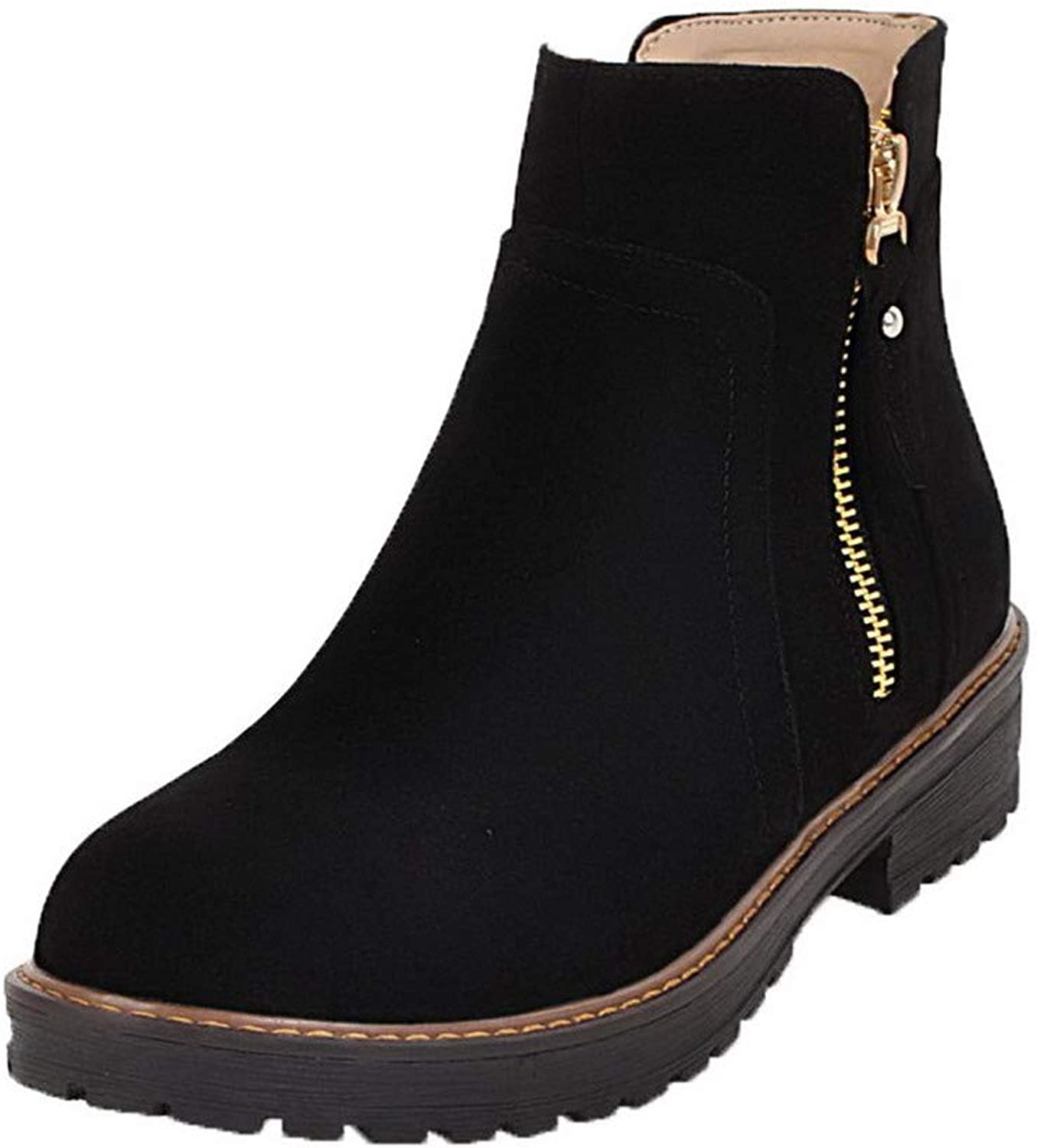 AllhqFashion Women's Solid Frosted Low-Heels Zipper Round-Toe Boots, FBUXD134756