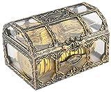 TBEONE Caja de joyería de plástico transparente del cofre del tesoro del pirata, caja de almacenamiento pirata para coleccionables joyería de cristal organizador cosmético del perfume