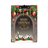 Christmas Decorations Personalized Clipboard,Classic Rustic Design Season Greetings Golden Letters Village Ornaments Customized Cute Hardboard Office Clipboard with Low Profile Clip for Letter Size Pa