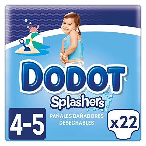 Dodot Splashers Talla 4, 2 x 11 Pañales bañadores desechables, 9-15 kg, no se hinchan y fácil de quitar