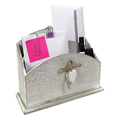 Mojawo Organizer Briefablage dokumentenhalter schreibtischorganizer tischorganizer postablage Holz briefhalter B24X T9X H17cm
