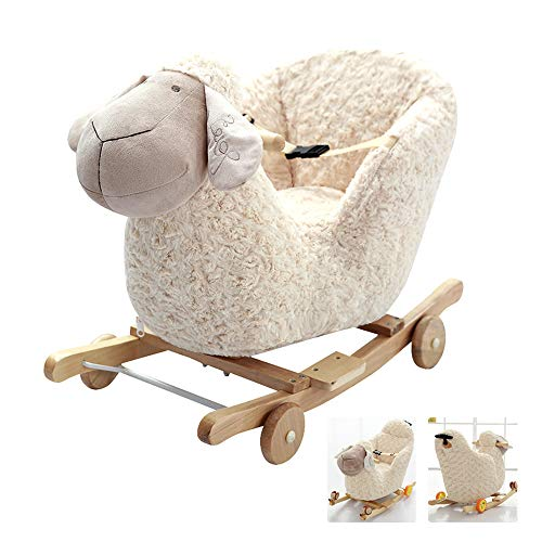 LYXCM Children Wooden Lamb Shaped Rocking,Horse Wooden White Plush Rocking Sheep Toy for Toddler Baby 1-3 Years