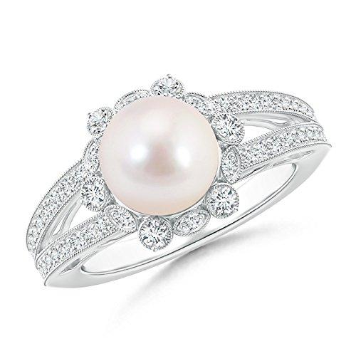 Vástago de Split Akoya perla cultivada de Halo anillo para mujeres con diamantes Milgrain (8mm Akoya perla cultivada)