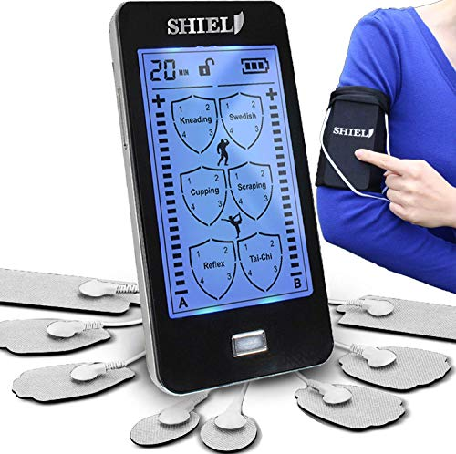 Shield Touchscreen Rechargeable TENS Unit, Electronic Massager for Neck and Back Pain (2019 Model)