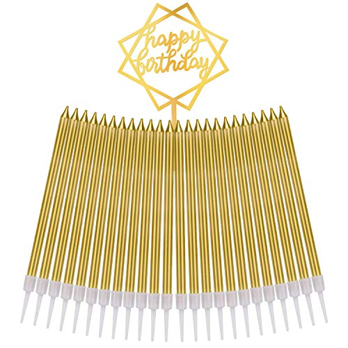 Vincens Birthday Candles Cake Gold Candle, Party, Wedding, Bottle Service, Night Club, Sweet 16, Mini Candles Smokeless (6 pcs)