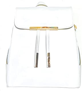 Leather backpack 32cm x 27cm white