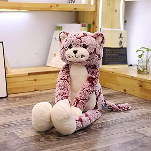 TNSYGSB Cat de Peluche Juguete Peluche Animales Lindo Mullido Pierna Larga Gato muñeca Suave Juguete niño cumpleaños Mono Peluche (Color : 90cm, Size : Pink)