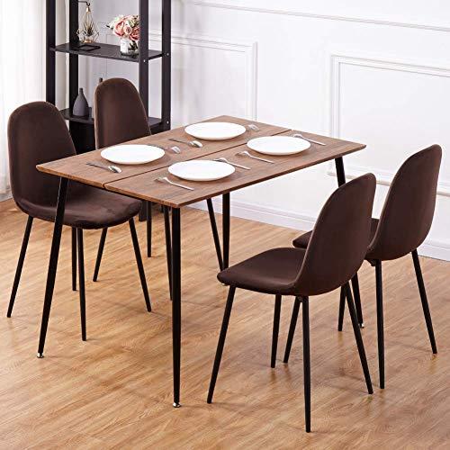 GOLDFAN Esstisch mit 4 Samtstühlen Rechteckiger Esstisch Retro-Design Küchentisch mit Metallbeinen für Wohnzimmer Büro, Braun