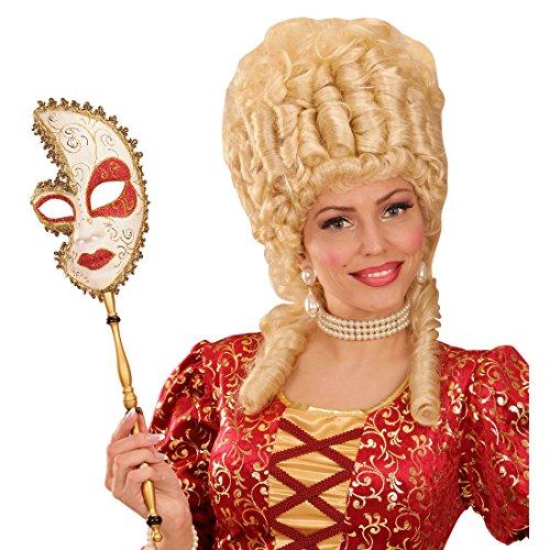 NET TOYS Venezianische Maske Barock Stabmaske Venedig Ballmaske Gold Rokoko Opernmaske am Stab...