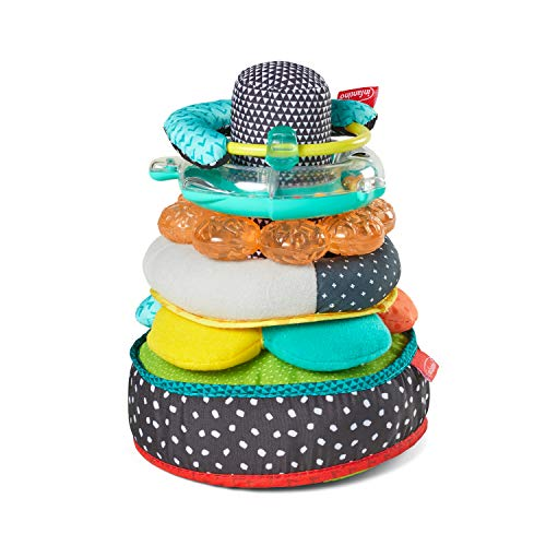"Infantino Texture & Sounds 6-in-1 with 5 Baby Basic Activity Toys and a Shake & ""Giggle"" Soft Stacker"
