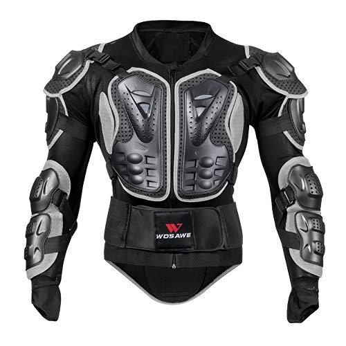 Equipo de protección de la motocicleta Moto Armadura de cuerpo completo Armadura del cuerpo de la columna vertebral Protección de pecho y espalda adecuado para Ciclismo De Montaña Patinaje ,Negro,M